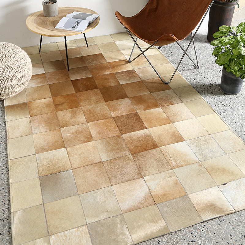 Cream and Fawn Square Patchwork Hide Rug - Staunton and Henry