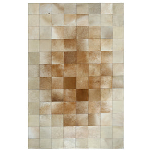 Cream and Fawn Square Patchwork Hide Rug