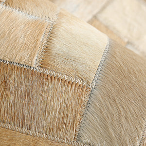 Cream and Fawn Chevron Patchwork Hide Rug
