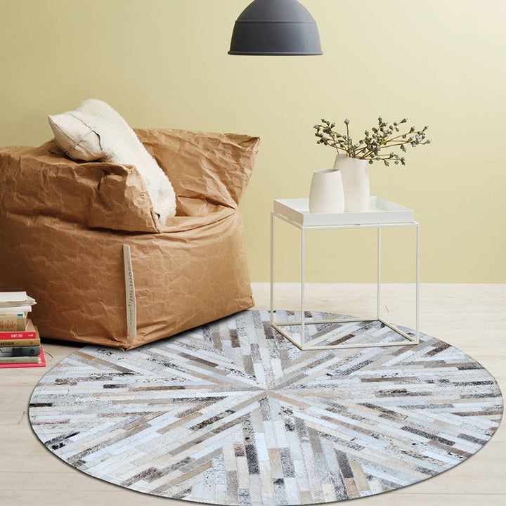 Beige and Cream Round Patchwork Hide Rug - Staunton and Henry