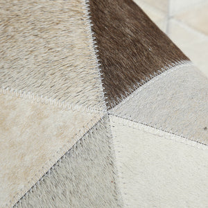 Cream and Fawn Triangle Patchwork Hide Rug - Staunton and Henry