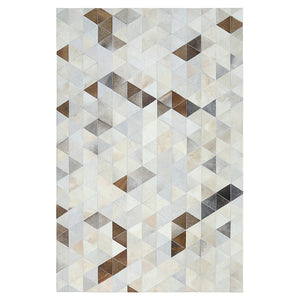 Cream and Fawn Triangle Patchwork Hide Rug