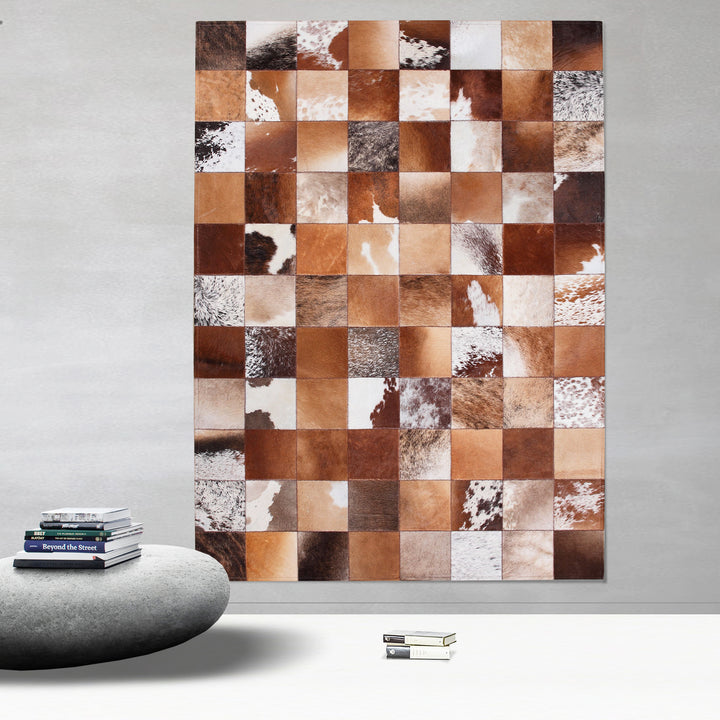 Brown and Cream Patchwork Hide Rug - Staunton and Henry