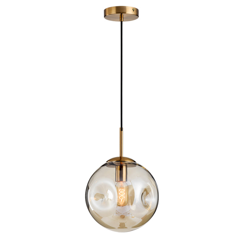 Modern Brass Pendant With Dimpled Glass Shade - Staunton and Henry