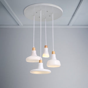 Modern Frosted White Pendant Light Set with Ceiling Mount