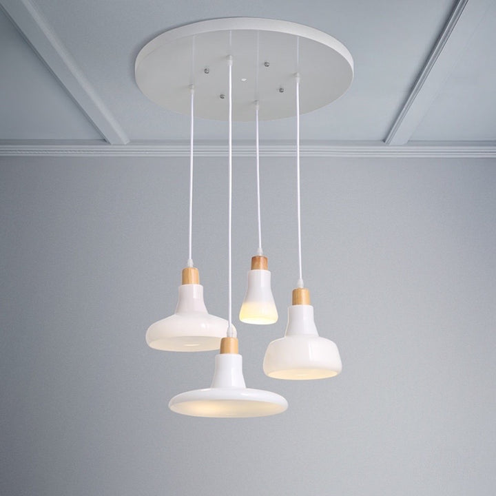 Modern Frosted White Pendant Light Set with Ceiling Mount - Staunton and Henry