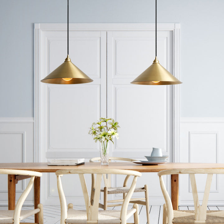 Matt Brass Conical Pendant Light - Staunton and Henry