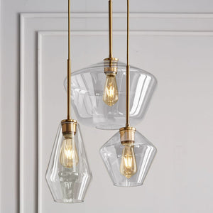 Modern Brass and Glass Pendant Light