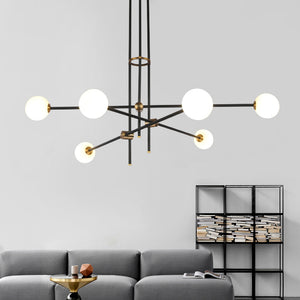 Black & Brass Deco Chandelier