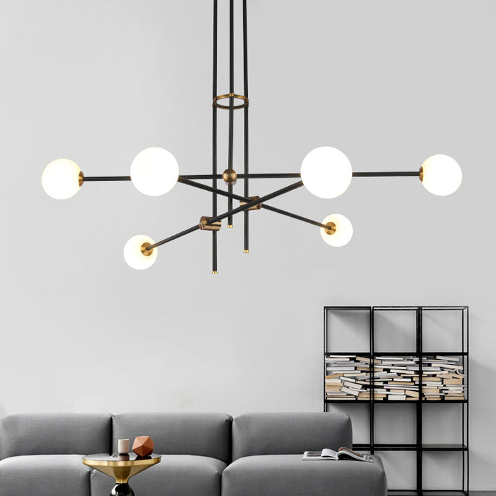 Black & Brass Deco Chandelier - Staunton and Henry