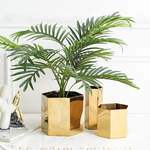 Modern Geometric Brass Plant Pot