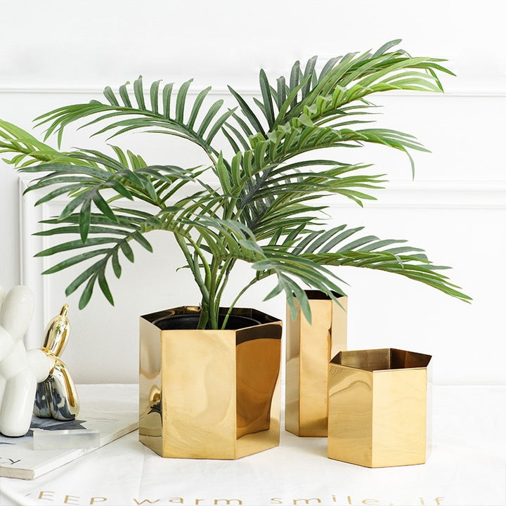 Modern Geometric Brass Plant Pot - Staunton and Henry