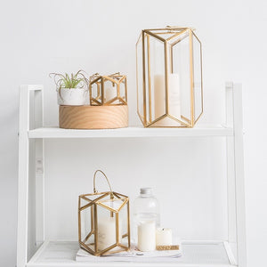 Modern Gold and Glass Geometric Lantern