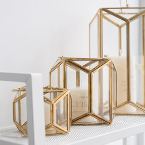 Modern Gold and Glass Geometric Lantern - Staunton and Henry