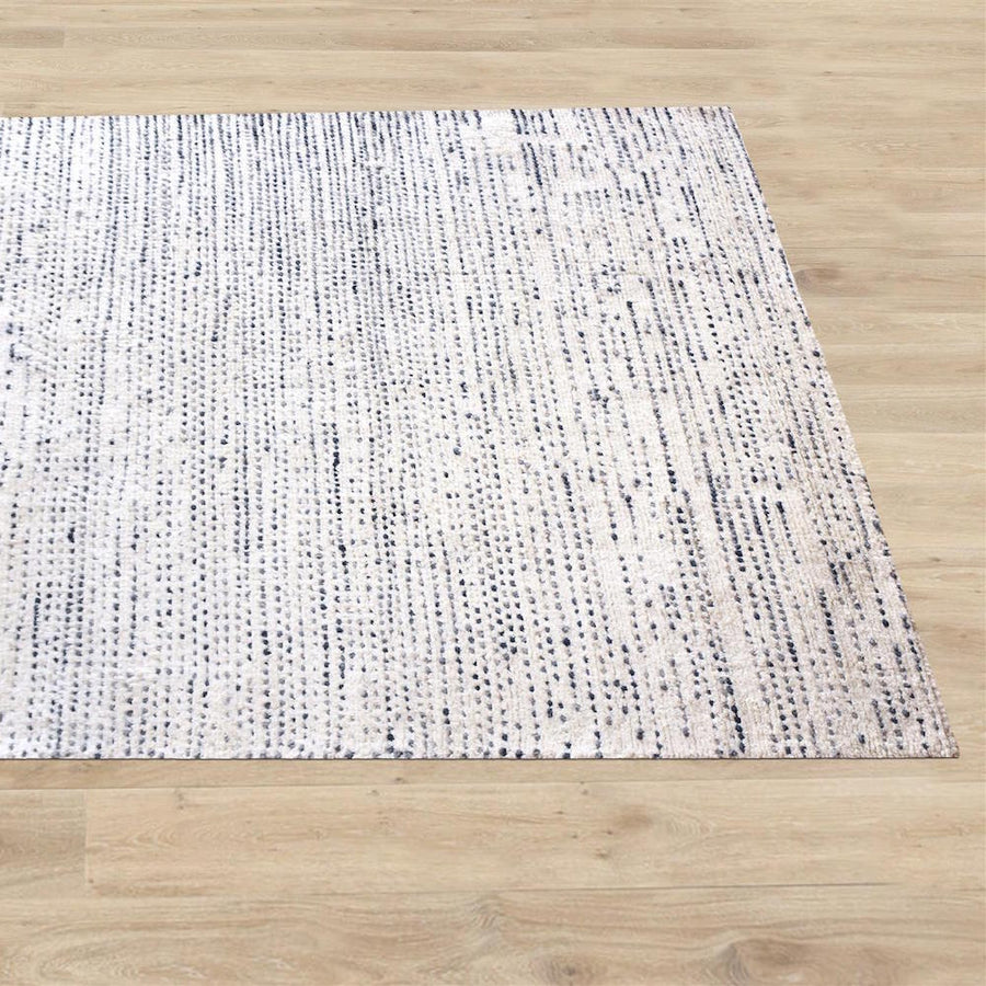 Aroica White and Blue Wool Rug - Staunton and Henry