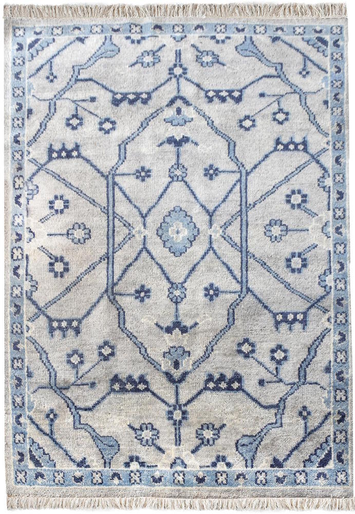 Aziz Blue and White Wool Rug - Staunton and Henry