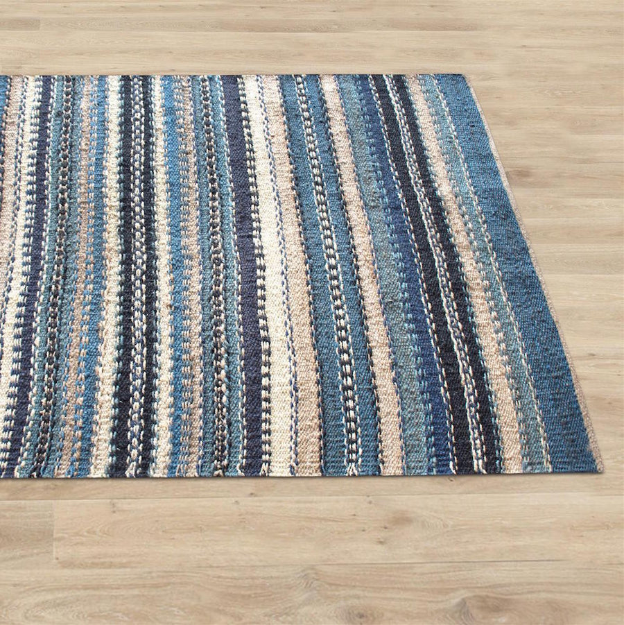 Jonas Blue Hemp Area Rug - Staunton and Henry