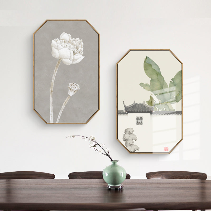 Wide Floral Oriental Wall Art With Wood Frame - Staunton and Henry