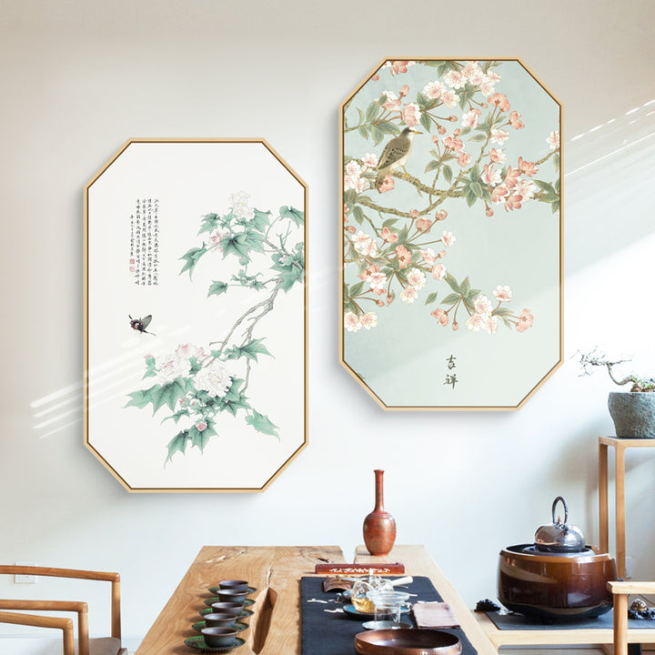 Pink Oriental Wall Art With Floating Frame - Staunton and Henry