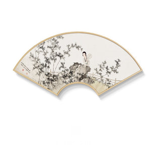 Fan Shaped Oriental Wall Art With Wood Frame - Staunton and Henry