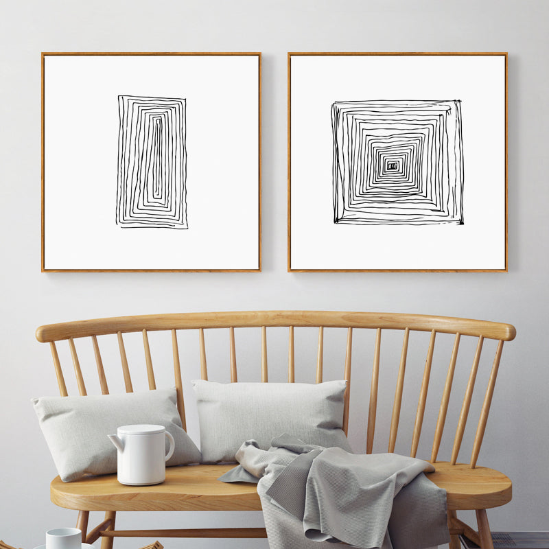 Abstract Black And White Wall Art With Wood Frame