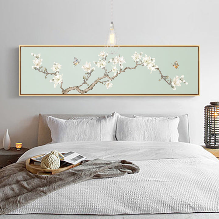 Cherry Blossoms Wide Wall Art With Wood Frame - Staunton and Henry
