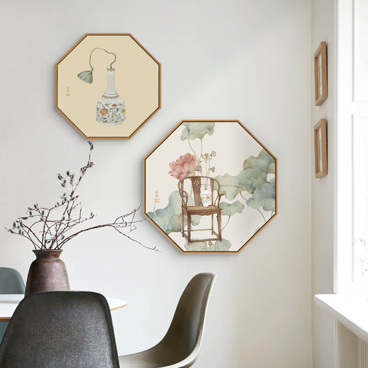 Oriental Hexagon Wall Art With Wood Frame - Staunton and Henry