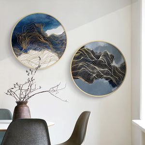 Modern Round Oriental Wall Art With Wood Frame - Staunton and Henry