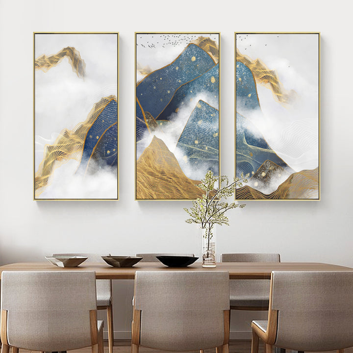 Blue and Yellow Abstract Vertical Wall Art With Frame - Staunton and Henry