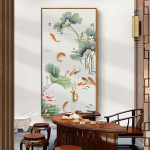 Lotus and Koi Oriental Wall Art With Frame - Staunton and Henry