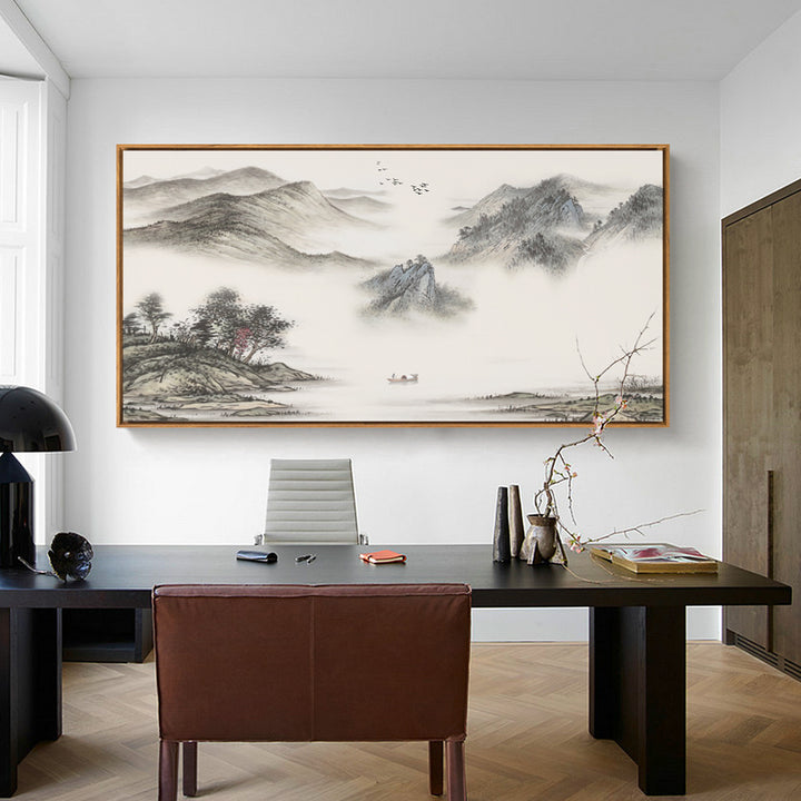 Misty Mountains Oriental Wall Art With Frame - Staunton and Henry