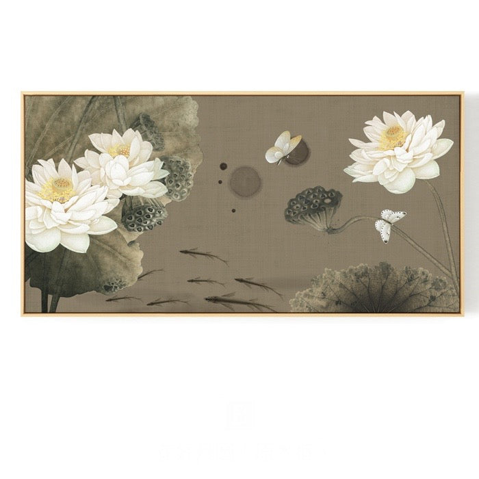 Oriental White Lotus Wall Art With Frame - Staunton and Henry