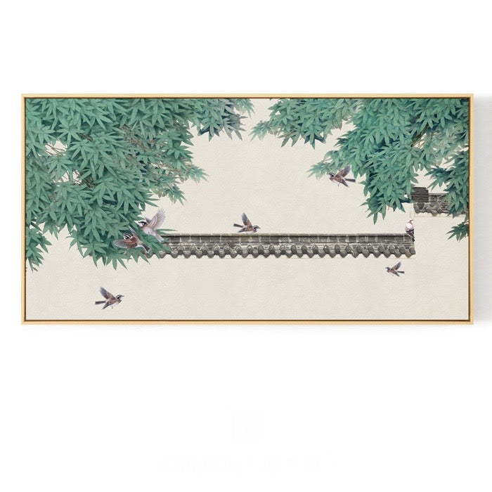 Pagoda Birds Oriental Wall Art With Frame - Staunton and Henry