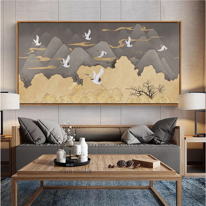 Ibis Oriental Mountain Wall Art With Frame - Staunton and Henry
