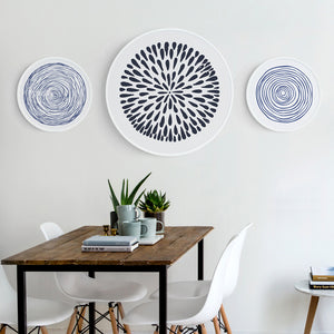 Round Blue and White Art Prints With Frame - Staunton and Henry