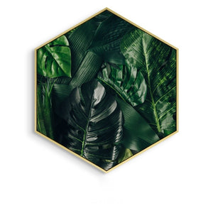 Hexagon Green Leaf Wall Art With Frame - Staunton and Henry