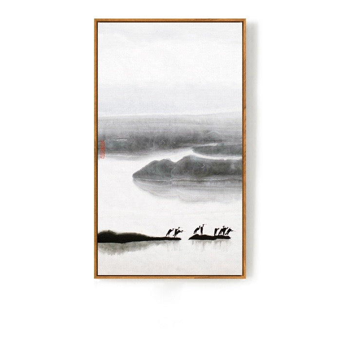 Black and White Japanese Wall Art With Frame - Staunton and Henry