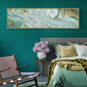 Gold and Turquoise Abstract Wall Art With Frame - Staunton and Henry