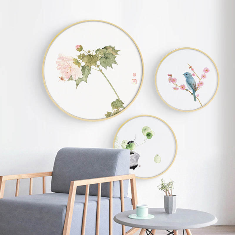 Round Pink Oriental Wall Art With Frame - Staunton and Henry