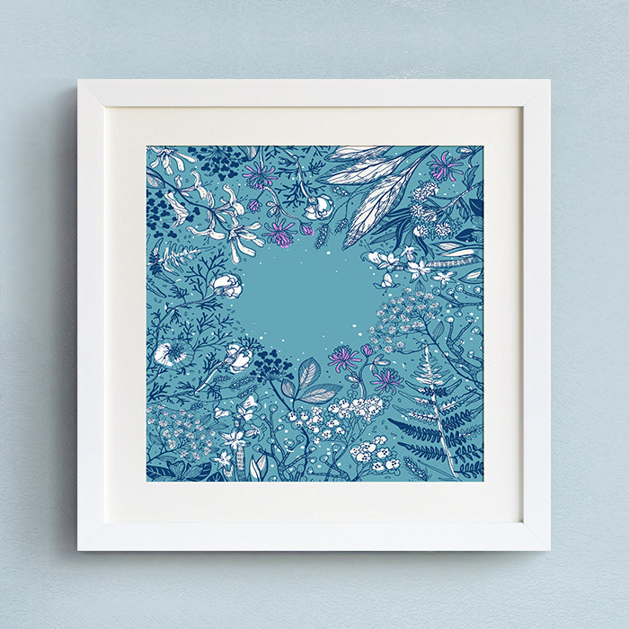 Blue Floral Wall Art With Frame - Staunton and Henry