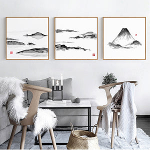 Japanese Mountain Wall Art With Frame - Staunton and Henry
