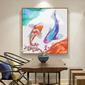 Watercolor Koi Fish Art With Frame - Staunton and Henry