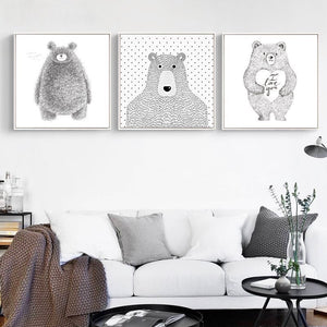 Black and White Bear Wall Art With Frame - Staunton and Henry
