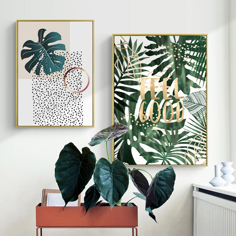 Modern Green Leaf Wall Art With Frame - Staunton and Henry