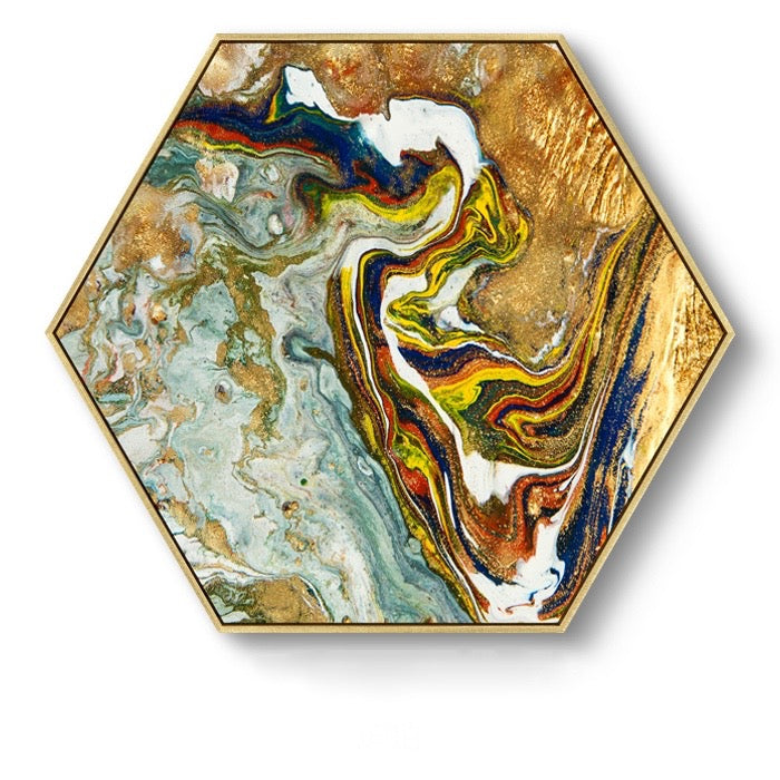 Hexagon Poured Liquid Wall Art With Frame - Staunton and Henry