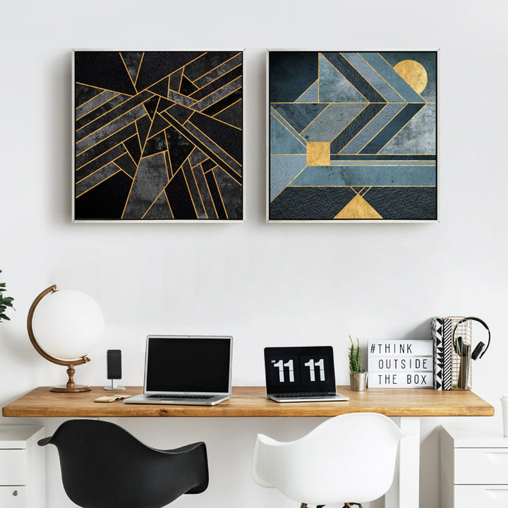Black and Gold Abstract Wall Art With Frame - Staunton and Henry