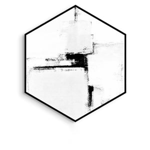 Hexagon Black and White Wall Art With Frame - Staunton and Henry