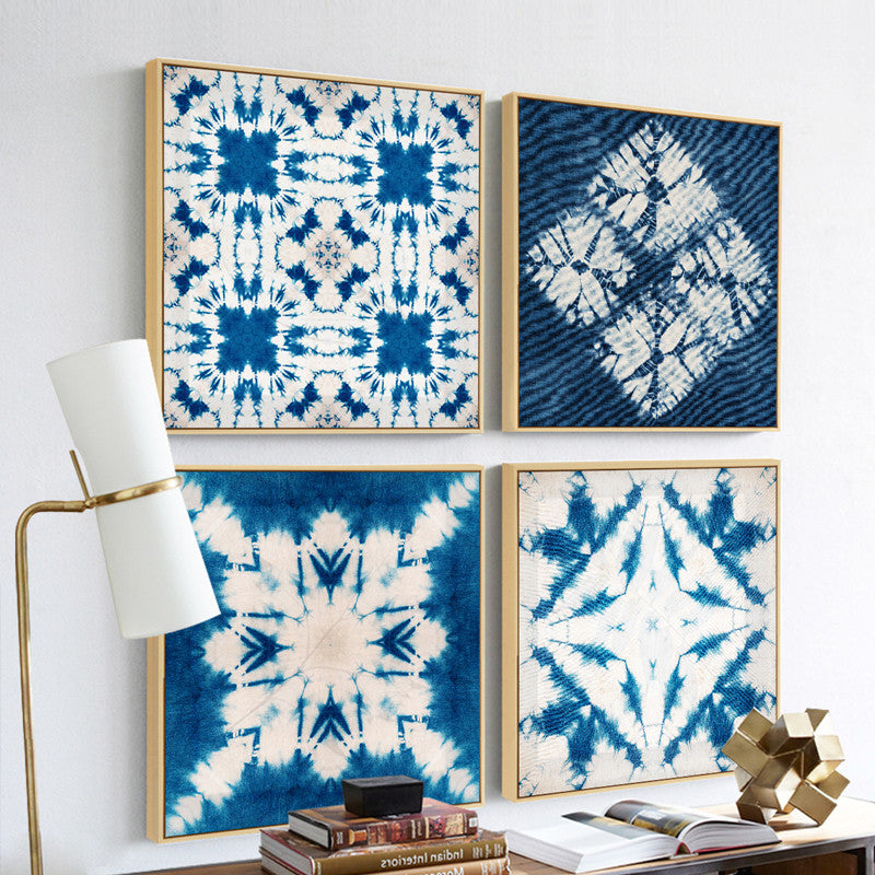 Blue and White Tie Dye Wall Art With Frame - Staunton and Henry