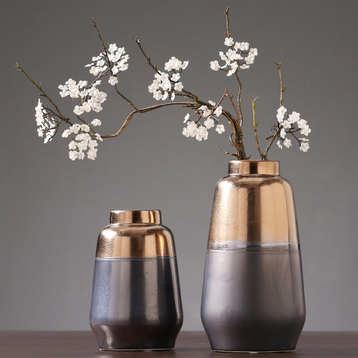 Earth and Bronze Ceramic Vase - Staunton and Henry