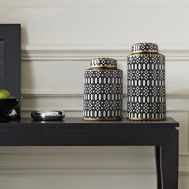Round Black and White Urn Vase - Staunton and Henry
